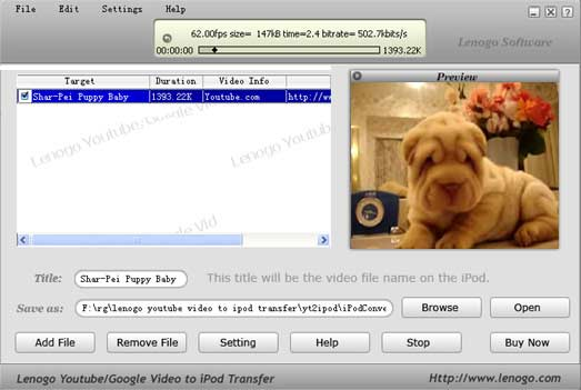 enables users to transfer any youtube or google video straight to their iPods